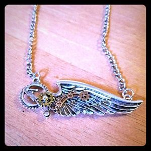 Steampunk wing necklace